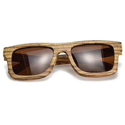 BEWELL G004A Occhiali da sole unisex in legno zebrato con lenti polarizzate e occhiali da sole con protezione UV400 Occhiali da sole in legno con montatura in legno in estate