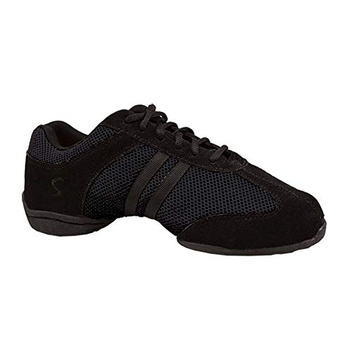 Skazz by Sansha Women's Dance Studio Exercise Sneakers Suede Leather Split-Sole DYNA-MESH (US 11.5 / Skazz 12 M), Black