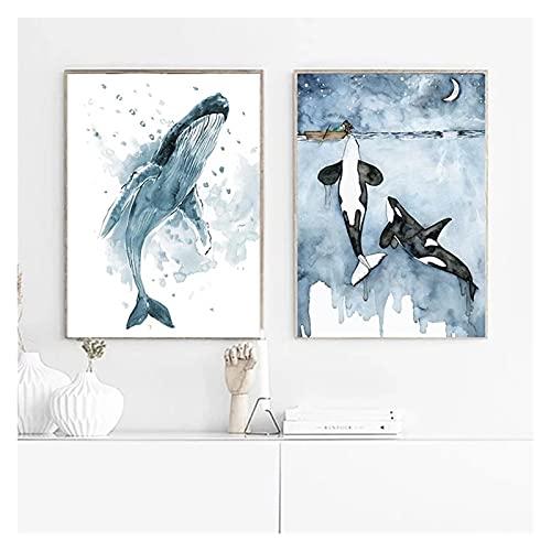 LTGBQNM Aquarell Cetacean Poster Digest Blue Ozean Landschaftsmalerei Wandkunst Fotos Nordic Wohnzimmer Dekoration 24x32inchx12 Kein Rahmen