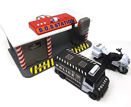 Brigamo Spielzeug Polizeistation mit Martinshorn, Sirene und Miko, Polizeiauto und Polizei Motorrad