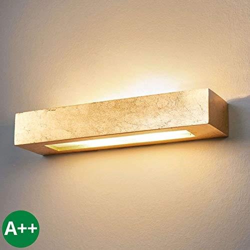 Lindby Wandleuchte, Wandlampe Innen 'Emina' dimmbar (Modern) in Gold/Messing aus Gips/Ton u.a. für Wohnzimmer & Esszimmer (2 flammig, E14, A++) - Wandstrahler, Wandbeleuchtung Schlafzimmer