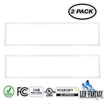 [2-Pack]LED FATANSY Ultra Slim LED Light Panel,White Frame, IP40, AC 100-270V, DLC-Qualified & UL-Listed, Eligible for Rebate Programs