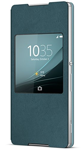 Sony Mobile Flip Folio Hülle Smart Style Window Case Cover mit Fenster für Sony Xperia Z3+ - Blau