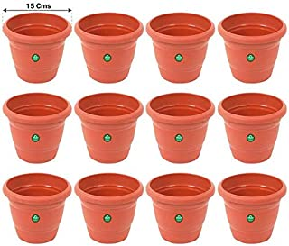 TrustBasket UV Treated Plastic Round Pot (6 Inches)-Terracotta Color -Set of 12