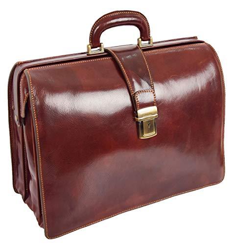 Italienisches Leder Aktentasche für Ärzte Geschäft Profis Gladstone Tasche Braun Djoser