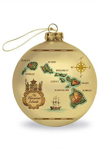 Glass Ornaments Hawaii Map 3.19 inch Diameter