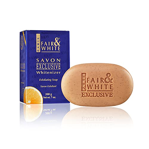 Fair and White Exclusive Exfoliating Soap   7 oz / 200 g   Skin Brightening Bar, Fade Dark Spots, Hyperpigmentation Treatment, Uneven Skin Tone   with Vitamin C and Shea Butter