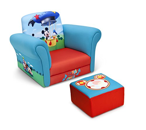 Delta Children Upholstered Chair with Ottoman, Disney Mickey...