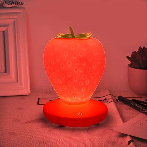 Touch Dimmable LED Night Light Silicone Strawberry Nightlight USB Bedside Lamp for Baby Children Kids Gift Bedroom Decoration