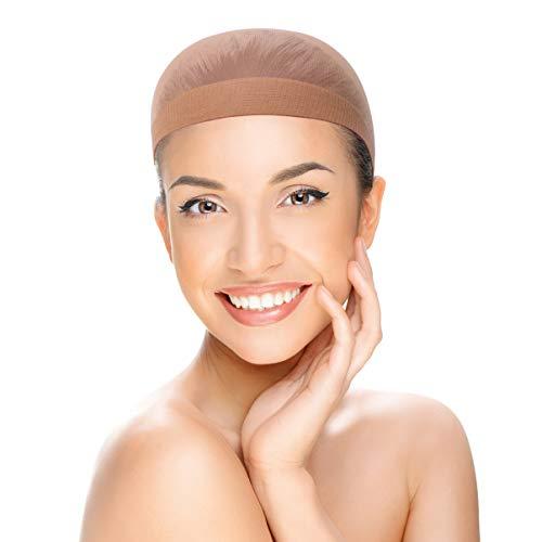 Lurrose bonnets de perruque en nylon bonnets de peau bonnets de bonnet brun clair pour femmes 20pcs (couleur mélangée)