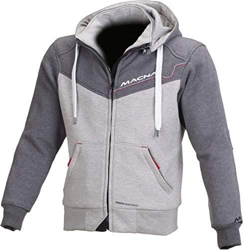 Macna Hoodie Sweatshirt Sweatjacke Kapuzenpullover Freeride Hoodie mit Protektoren grau L, Herren, Chopper/Cruiser, Ganzjährig, Textil