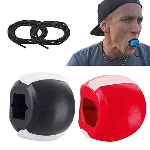 2Pcs Ejercitador de Mandíbula Facial,Ejercitador de Mandibula y Cuello,Jawline Facial Fitness Ball para Entrenamiento Muscular y Levantamiento de la Cara (Negro + rojo)