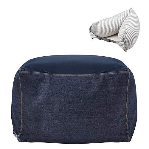 RAKU 人をダメにするソファ ビーズクッション 首枕ギフト付き 日本産極小ビーズ0.5mm 洗えるソファカバー付き もちもち 体にフィットする ビーズ ソファ 座布団 キューブチェア Lサイズ 65x65x43cm 7色可選択 (ブルー)