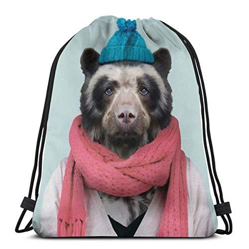 Mochila con Cordón,Bolsas De Cuerdas Gimnasio,Animales Bear Sir Hombre Mujer Atlético Pull String Bag para Viajar Yoga Compras Escuela Entrenamiento Playa