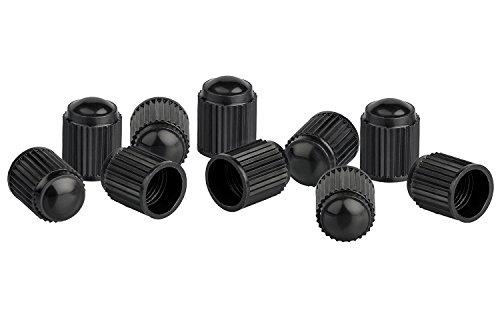 Xunits Ventilkappen Fahrrad - Schraderventil auch AV - Autoventil auch für MTB oder BMX Räder aus Plastik in schwarz - Set aus 10 Ventilen