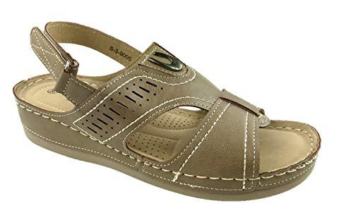 Sandalias planas de verano para mujer, de piel sintética, ligeras, con puntera abierta, para verano, tallas 38 a 42, color Gris, talla 37 EU