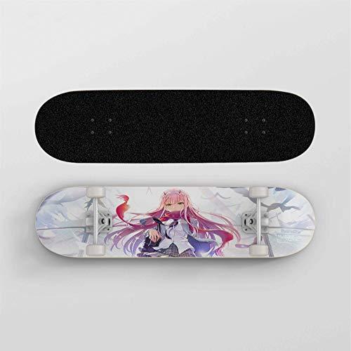 FWAHB Anime Skateboard for Darling In der FRANXX: Zero Two, Maple Deck Anfänger Doppel Kick-Skateboard, Jungen und Mädchen, mehrere Entwürfe, Urlaub Geschenke