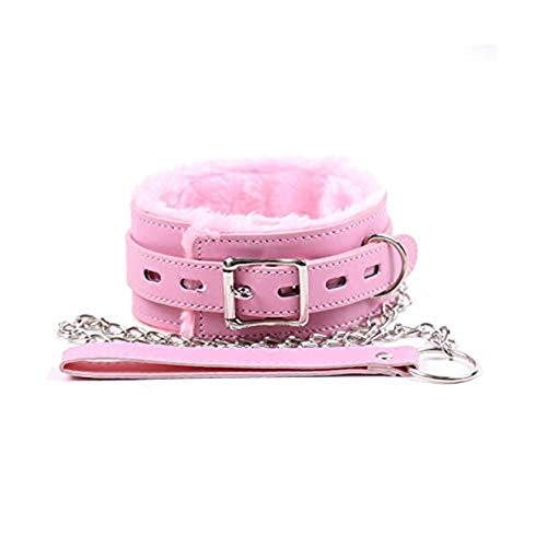 Furry Goth O-Ring Cadena Punk Slave Leash Gargantilla Cuello PU Collar de cuero rosa Collares de metal desmontables Proteger el cuello para mujeres Hombres