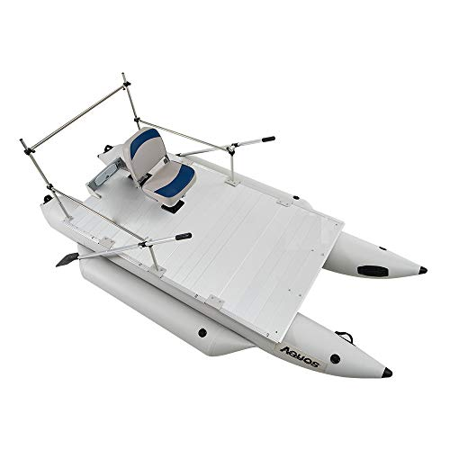 AQUOS Heavy-Duty 2021 New Thermobonding 0.9mm Thickness PVC 12.5ft Inflatable Pontoon Boat with Guard Bar and Folding Seat for Bass Fishing, Lure Fishing, Aluminum Floor Board