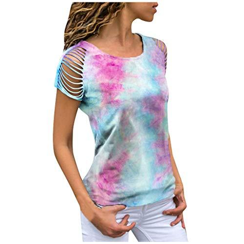 MRULIC Damen Kurzarm T-Shirt Rundhals Ausschnitt Lose Hemd Pullover Sweatshirt Oberteil Tops (EU-38/CN-M, Rosa)