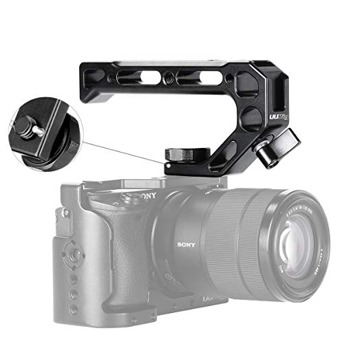UURig R008 Camera/DSLR Top Handle ARRI Hole Connection Grip for Sony A6400 6300 Camera Cage Metal Low Angle Shots 4 Cold Shoe Mount Microphone 15MM NATO Rail Rod Clamp Tube Hole, Video Film Making