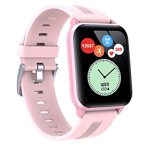 BNMY Smartwatch Reloj Inteligente Impermeable IP68 para Hombre Mujer Niños,Smartwatch 1.69'Reloj De Pantalla Completa Hombres Mujeres Rastreador De Actividad Física,Rosado