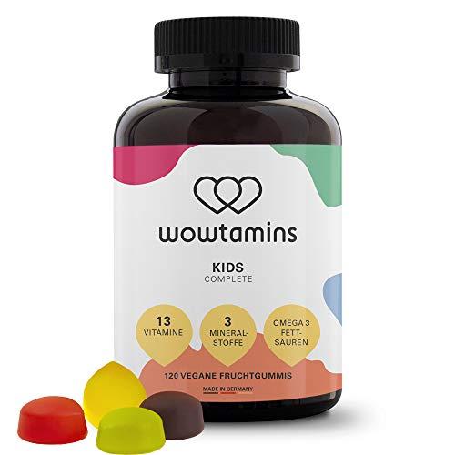 wowtamins KIDS Complete leckerer Fruchtgummi für Kinder - 13 Vitamine, Omega 3s & Mineralstoffe - Immunsystem stärken
