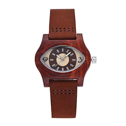 WomenWatch Reloj de Pulsera con Banda de Cuero y Maderahorloges W075