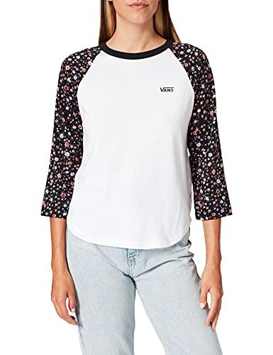 Vans Damen Bed of Roses T-Shirt, Weiß überzogene Ditsy, Small