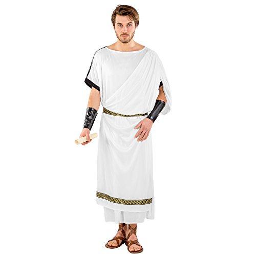 dressforfun Costume da uomo - Toga romana | Drappo applicato | Bordure in stile broccato | incl. Cintura e bracciali dorati con chiusura a strappo (L/XL | no. 300399)
