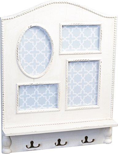 HomeTrends4You 774883 Porte-Manteau en Bois Blanc vintageoptik, 53 x 41 x 7 cm