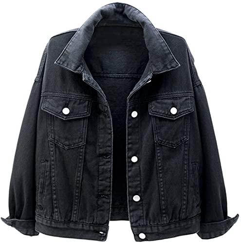 FLYCHEN Mujer Chaqueta de Jeans Abrigos para Mujer Abrigo Corto de Primavera y otoño Chaqueta Suelta de Mezclilla Corta Denim Jacket Mujer, negro, 3XL