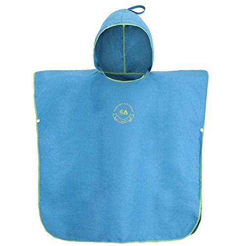 AMZQID Badeponcho/Bademantel für Kinder aus 10% Bambusfaser+90% Mikrofaser (Blau)