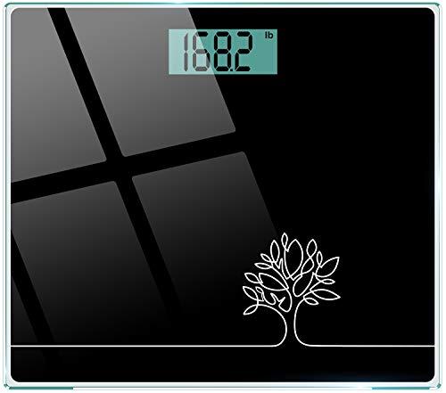 Cocoda Bascula de Baño, Vasculas de Peso Digital con Unidades st/lb/kg, Tecnología Step-On, Alta Precisión 0.1kg/0.2lb, Vidrio Templado Resistente de 6mm, 150kg/330lb/24st (Negro Elegante)