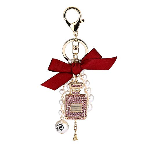 shenlanyu Llavero de perlas de imitación de perfume botella llavero llavero llavero llavero llavero bolsa colgante accesorios arco llavero moda HS
