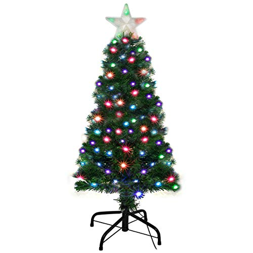 Holiday Essence Pre Lit Christmas Tree 4 Ft - Artificial Xmas Tree with Prelit LED Multi Color Lights, Star Tree Topper, Changing LEDs, 120 Full Hinged Tips, Metal Stand, UL Listed
