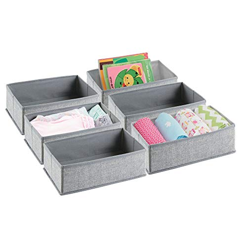 mDesign Soft Fabric Dresser Drawer and Closet Storage Organizer for Toddler/Kids Bedroom, Nursery, Playroom - Rectangular Bin with Textured Print, 6 Pack - Gray