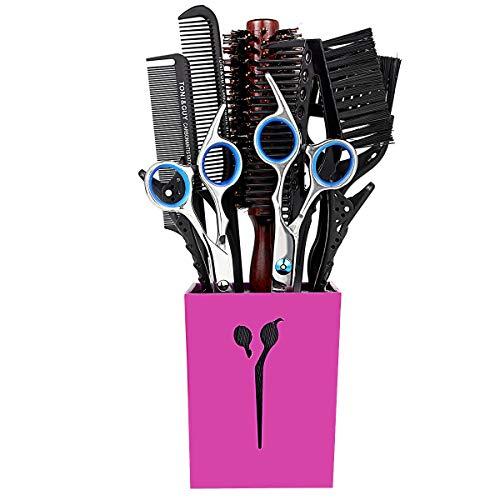 9 Pcs Kit de Coiffure Coupe de Cheveux Ciseaux Amincissement Ciseaux Cheveux Peigne Clips Teinture Brosse avec Porte-Ciseaux Rouge