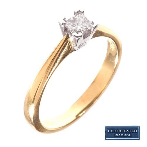 18 kt Gelbgold/Weißgold 0.25ct Diamond Princess cut Solitaire Ring