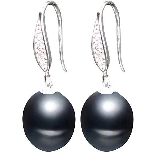 Pherolec Global Freshwater Pearl 8-9 mm A + Pendientes de calidad Mujer Circonita cúbica Plata de ley 925 Joyería fina Regalo para el día de San Valentín Cumpleaños Boda Novia