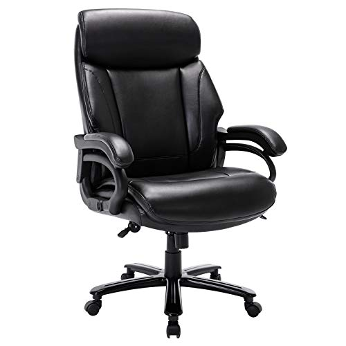 High Back Big & Tall 400lb Office Chair - Heavy Duty Metal Base, Adjustable Tilt...