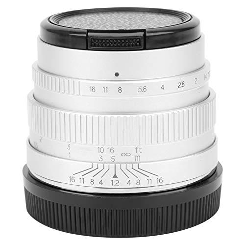 logozoee Spiegelloses Kameraobjektiv, hochwertiges, weitwinkliges, langlebiges manuelles Objektiv mit hohem Erscheinungsbild für den Canon EOS M-Anschluss(Silver)