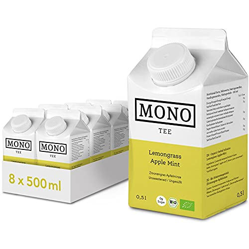 Mono Tee Bio Eistee ohne Zucker (8 x 500ml) Zitronengras Apfelminze – kalorienfreier Eistee Zero Zucker als erfrischender Durstlöscher – Eistee als Alternative zu Wasser im praktischen 8er Pack