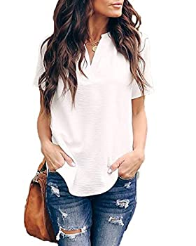 Allimy Women Summer V Neck Short Sleeve Tunic Chiffon Silk Blouses and Tops Plus Size Medium White