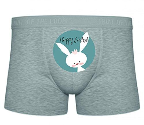 Druckerlebnis24 Boxershort GLÜCKLICH- Ostern- FRÜHLING- Saison- HASE- Urlaub- NIEDLICH- Kaninchen- Tier S- XXL Sexy Unterhose Slip Shorts