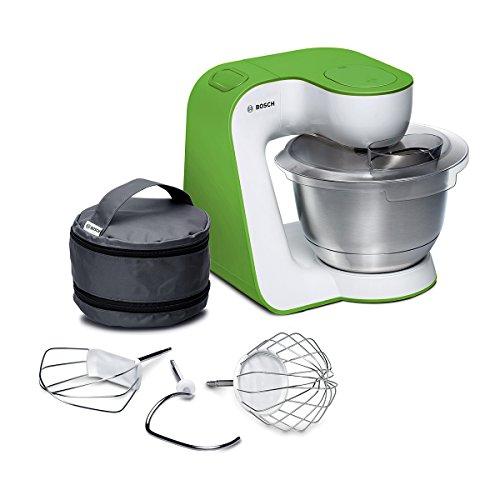 Bosch MUM5 StartLine Küchenmaschine MUM54G00, vielseitig einsetzbar, große Edelstahl-Schüssel (3,9l), Patisserie-Set aus Edelstahl, spülmaschinenfest, 900 W, weiß/türkis