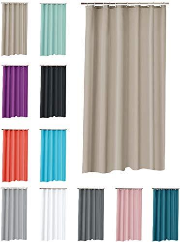 one-home Duschvorhang 180x200 cm wasserdicht Uni Badewannen Vorhang inklusive 12 Ringe, Farbe:Taupe/beige