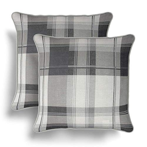 IT IDEAL TEXTILES Set of 2 GreyTartan Cushion Covers, Pair of Slate Checked Design Cotton Cushion Covers, Piped Trim Cushion Cases, Sofa Chair Throw Pillow Cases, 17' x 17', 43cm x 43cm