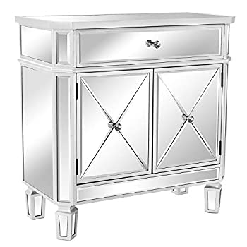 """VINGLI Mirrored Cabinet Mirrored Dresser Accent Chest Large Nightstand with 1 Drawer and Two Doors 27.5""""W x 13.4""""D x 27.5""""H Mirror"""
