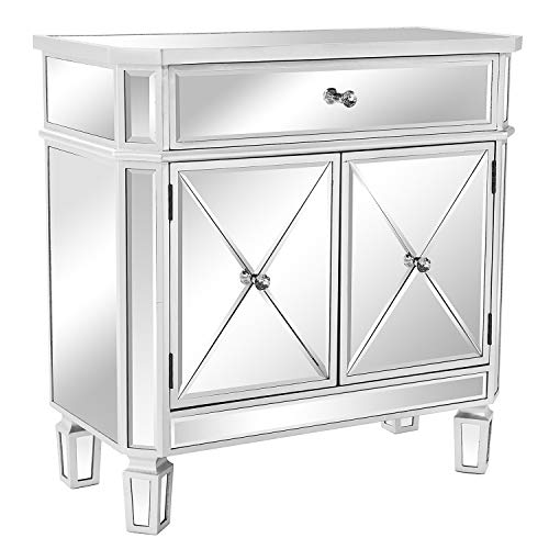 """VINGLI Mirrored Cabinet Mirrored Dresser Accent Chest Large Nightstand with 1 Drawer and Two Doors, 27.5""""W x 13.4""""D x 27.5""""H, Mirror"""